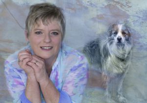 A composite of a woman and her loving dog