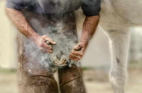 A beautifully processed photo of a farrier fitting a new shoe on a horse with the ssmoke from the hot shoe being burnt into the nail billowing around.