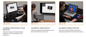 Image showing how the X-Rite-i1-Pro-Calibrates-a-Variety-of-Screens including projectors and mobile units