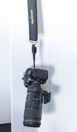 An image of a BosSTRAP supporting my Nikon D7100 and 80-200mmm lens all valued at over NZ$3000