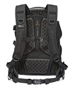 Backview of the LowePro ProTactic 450AW backpack showing the well constructed and comfortable design