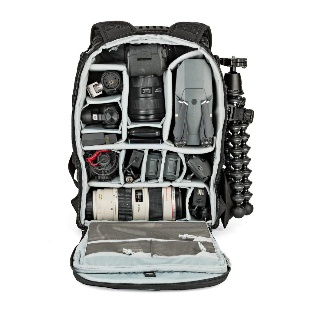 The LowePro ProTactic camera bag showing the internal detail and storage space