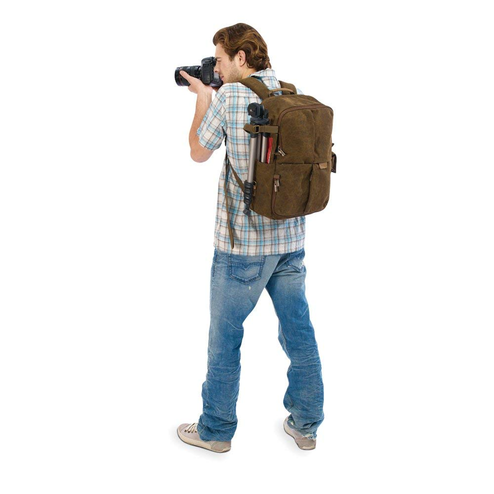 National Geographic camera backpack on person's back showing comfort level of weight distribution