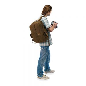 National Geographic camera backpack on photographer's back showing relative size