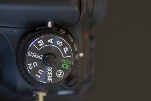 An image of a modern day digital camera's mode selector used to select the level of control the photographer has