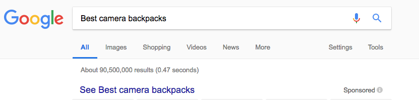 "Screen shot of Google Search for ""Best Camera Backpacks"""