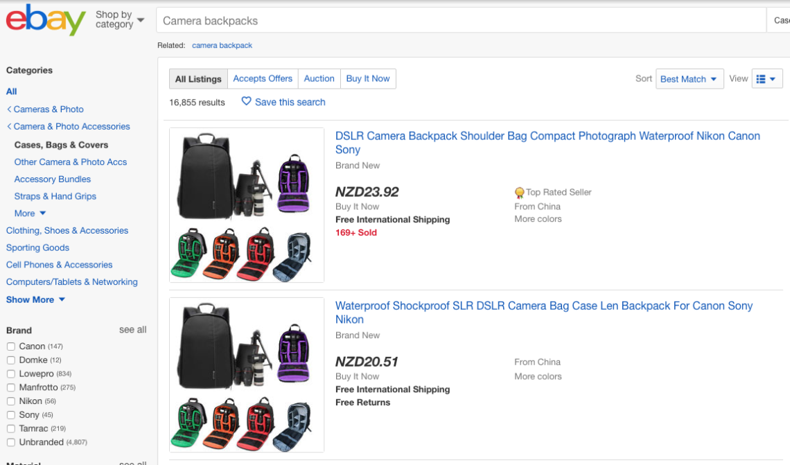 Screen shot of search on eBay for Best Camera Backpacks