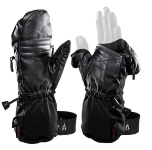 An image of the Heat 3 Smart gloves system showing how the fingers can be revealed, while still in the glove, in order to make camera operating so much easier