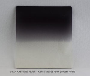 Low quality plastic Neutral Density filter