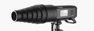 The Godox AD400Pro fitted with a snoot