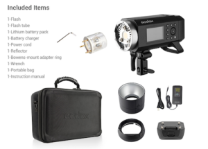 A photo of the items included when you purchase when you buy the Godox AD400Pro