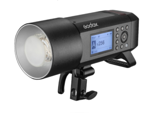 Front and side view of the Witstro Godox AD400PRo strobe photo lighting kit