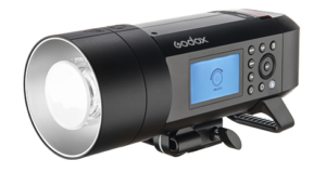 The Godox AD400Pro Strobe light showing control panel and front reflector