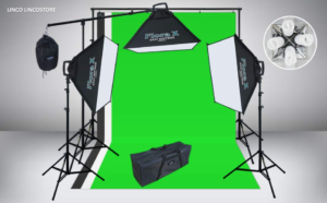 The entire Linco Lincostore AM077 studio lighting equipment set-up showing everything that comes with your order