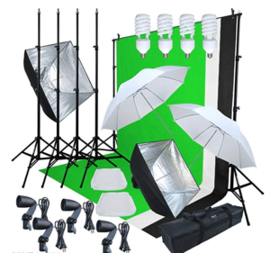 Screen shot from seller's website showing the contents of the Linco Lincostore Model AM169 studio photographic lighting set