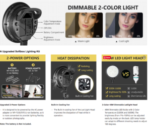 An image showing the different power settings, effects and functions of the LED lighting that comes with the NEEWER LED Softbox Lighting Kit