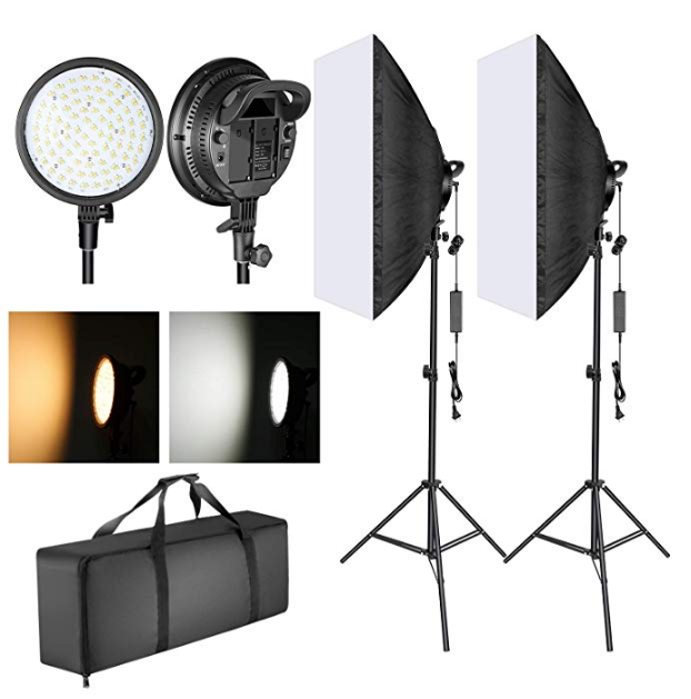 A screenshot image from the seller's page showing the NEEWER LED softbox lghting kit package