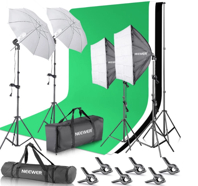 Image of the Neewer Studio Photography Continuous Lighting Kit with 6.5x10feet/2x3m Background Stand, 6x9 feet/1.8x2.8m backdrop