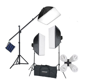 Image showing the entire StudioFX H9004SB2 2400 Watt Lighting kit with softboxes and boom arm assembled plus the carry bag