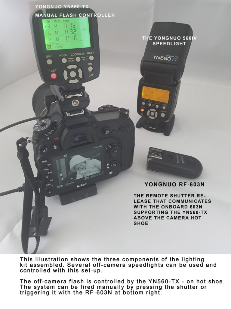 The yongnuo 560IV lighting kit with the speed light, transmitter and remote shutter release assembled