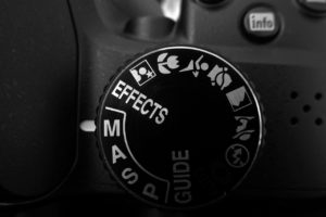 A photo showing the mode selector on a modern DSLR with the three manual mode options - manual, aperture and shutter