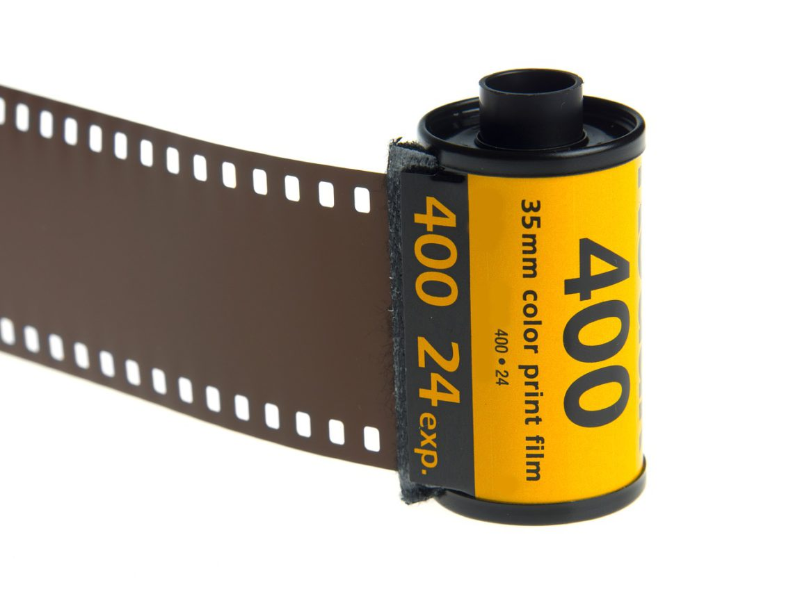 A photo of a spool of film used in a 35mm analog camera