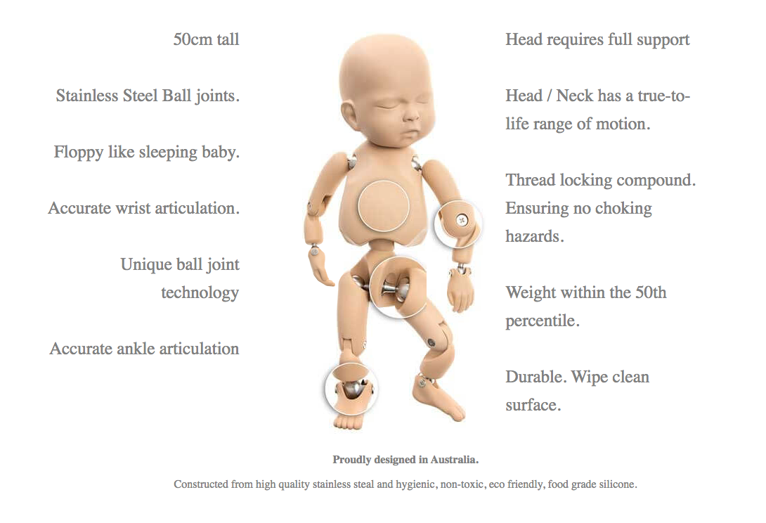 A photo showing the key features of the StanInBaby with detail of the stainless steel joints.