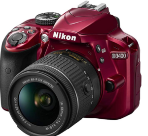 Three dimensional view of a red Nikon D3400 DSLR camera fitted with the standard 18-55 kit lens