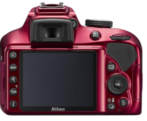 The rear view of the Nikon D3400 DSLR entry level camera showing the large LCD screen and the various control buttons and comfortable viewfinder