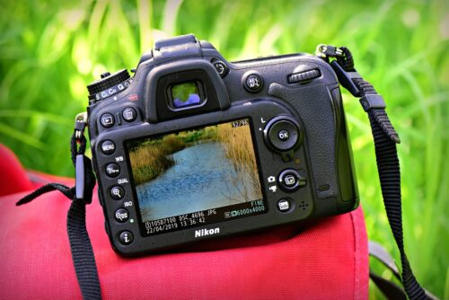 A photo of a full frame Nikon D750 from behind showing the view through the lens