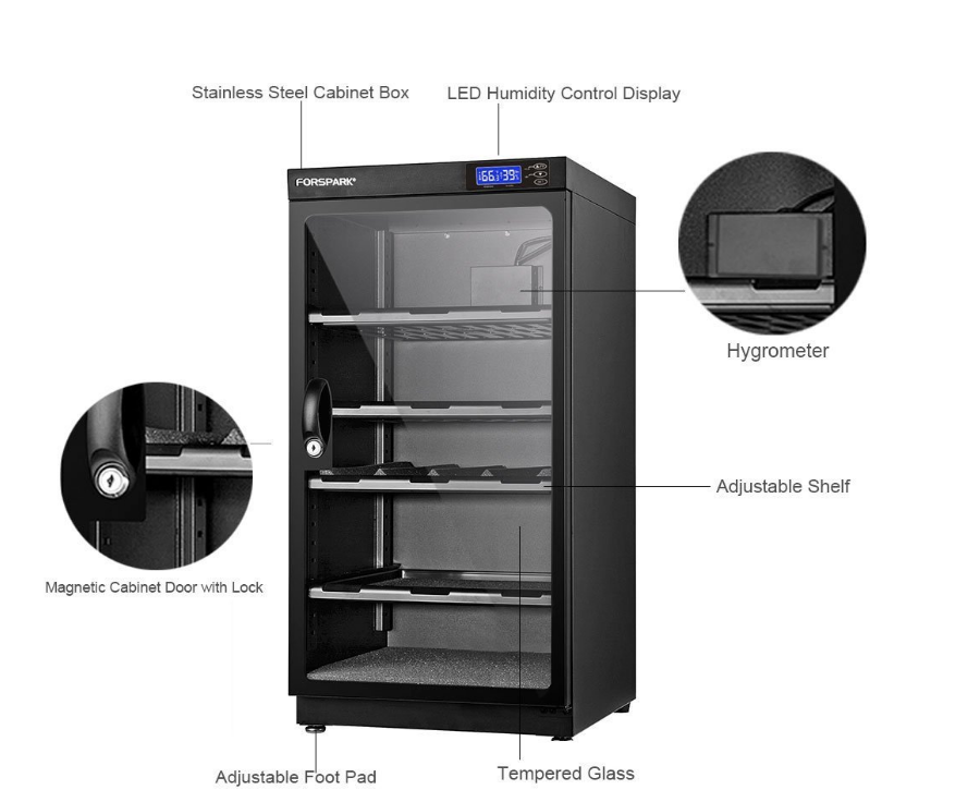 An image of the built-in features that come with all FORSPARK camera dry dehumidifying cabinets