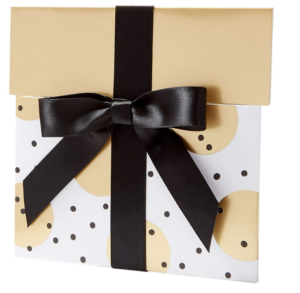 An image of an Amazon gold gift voucher wrapped with gold paper and a black ribbon
