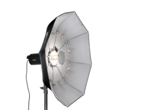 """Image of the exact set-up I use for my portrait work showing the Impact 40"""" collapsible beauty dish on stand with light connected"""