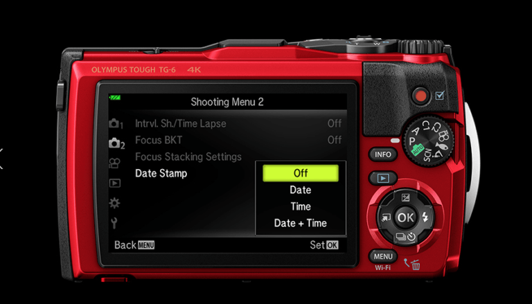 Best Point And Shoot Camera Rear Screen view of the Olympus Tough TG 6 showing one of the many shooting menu options and the easily accessible control buttons and selections