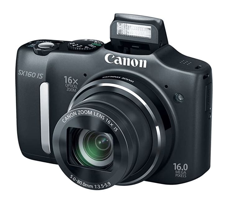 Best Point And Shoot Camera The Canon SX160 IS showing the front view with flash