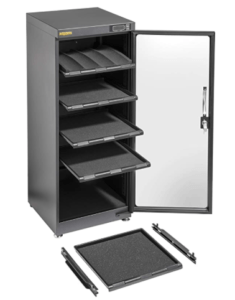 Ruggard 120L Camera Dry Cabinet showing the single lockable door, internal customisable padded shelving and level adjusting feet