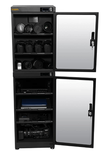 Ruggard 180L Camera Dry Cabinet with two vertical placed doors, double locks, adjustable padded shelves and level adjusting feet