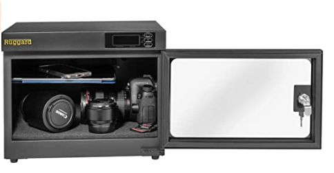 Ruggard 18L Camera Dry Cabinet showing the limited space and tiny half shelf