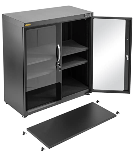 Ruggard 235L Camera Dry Cabinet showing the twin doors, adjustable shelving and adjustable feet